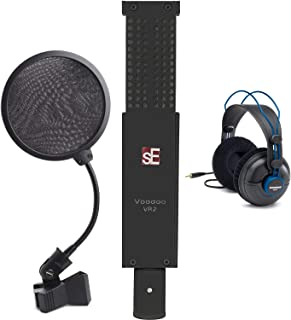 sE Electronics VR2 Voodoo Active Ribbon Microphone with Shockmount and Case + Studio Reference Headphones + Pop Filter