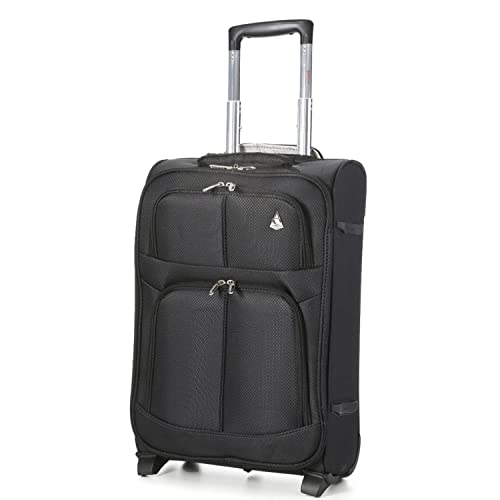 ec4b35d2876d Aerolite 55x35x20 Super Lightweight 2 Wheel 34L Upright Carry On Hand Cabin  Luggage Suitcase - Approved