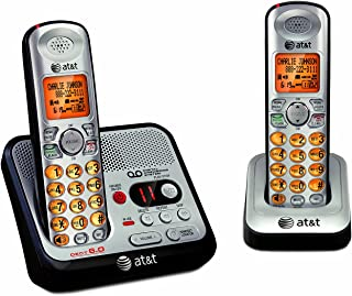 AT&T EL52200 2-Handset DECT 6.0 Cordless Phone with Digital Answering System and Caller ID, Handset Speakerphone, Wall-Mountable, Silver/Black