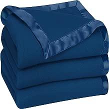 Utopia Bedding Fleece Blanket Queen Size Navy Soft Cozy Sateen Bed Blanket Microfiber