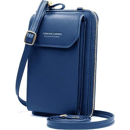 HNOOM Handy Umhängetasche, Handytasche zum Umhängen Leder, Umhängetasche Damen Klein mit Kartenfächer, Verstellbar Schultergurt für Handy unter 6.1 Zoll (Blau)