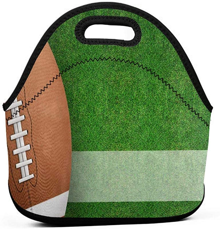 American Football Sport Ball Field Neoprene Lunch Bags Insulated Lunch Tote Bag For Women For Kids Adults Back To School Gifts