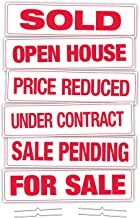 """Corrugated Real Estate Sign Rider Kit, 6"""" x 24"""" Includes Sold, for Sale, Price Reduced, Open House, Under Contract, Sale P..."""