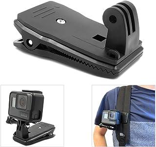 micros2u Pinza con Soporte compatible GoPro muy resistente. Pivote giratorio 360 grados liberación rápida para correas gorros bolsos mochilas. Apta para Hero 8 7 6 5 4 3 Session y otras cámaras