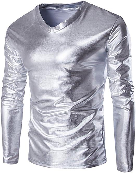 Logobeing Blusa Cuello V Hombre MetáLico Brillante Mojado Look Manga Larga Camiseta