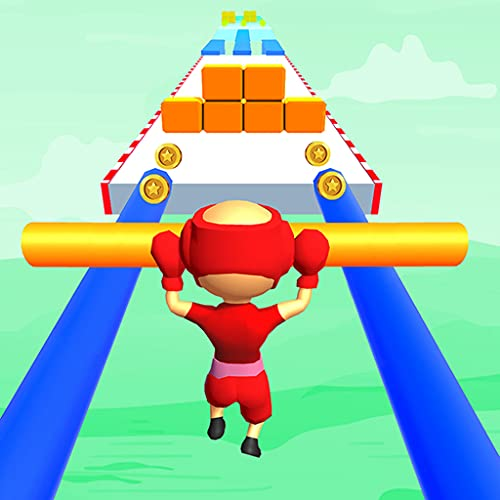 Giant roof slide pusher run over rails rush 3d games with fat man police blob character that collect all stick over tricky shortcut track to make it bigger by running over simple rail track