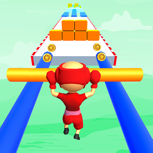 Giant roof slide pusher run over rails rush 3d games with fat man police blob character that collect all stick over tricky shortcut track to make it bigger by running...