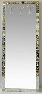Specchio da muro a figura intera con attaccapanni,cornice in mosaico di specchio con inserti in vetro cattedrale foglia or...