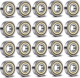 Amaoma 20 Piezas Rodamientos de Bolas 608 ZZ Rodamientos Skate Miniatura Radial Rodamientos de Bolas Rodamientos Rígidos Doble Blindado Rodamiento de Acero al Carbono 8 mm x 22 mm x 7 mm
