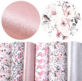 David accessories Flamingo Floral Printed Faux Leather Fabric Sheets Vivid Pearl Light Solid Color 6 Pcs 7.8