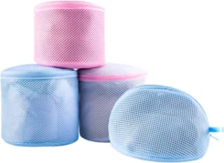 Bra Wash Bags for Lingerie Delicates, High Permeability Sandwich Fabric Mesh Laundry Bag for Bras Underwear Socks Panties Stockings, Zippered Protector for Washing Machine Dryer Safe, Pack of 4