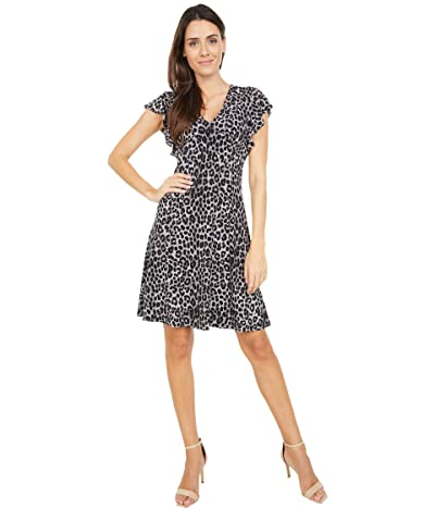 MICHAEL Michael Kors Mega Cheetah Seamed Dress (Gunmetal) Women