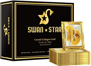 SWAN STAR Under Eye Mask, Under Eye Patches for Dark Circles and Puffiness, 24K Gold Collagen Eye Mask Anti-Aging Hyaluronic Acid Under Eye Pads for Reducing Dark Circles and Wrinkles Treatment Gel Pads, 20 Pairs