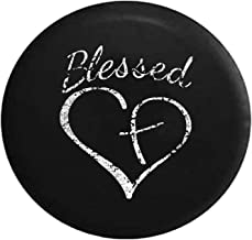 Distressed - Blessed Heart with Cross Spare Tire Cover fits SUV Camper RV Accessories 32 Inch