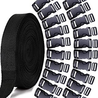 YGDZ 10 Yards 1 Inch Nylon Webbing Strap with 20 Set 1 Inch Side Release Plastic Buckles and Tri-Glide Slides for Luggage Strap Backpack Repairing, Black