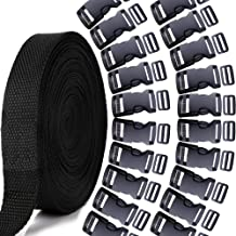 YGDZ 1 Inch 10 Yards Nylon Webbing Strap with 20pcs 1 Inch Flat Side Release Plastic Buckles with Tri-Glide Slides, Plastic Buckles Set for DIY Making Luggage Strap Pet Collar Backpack Repairing