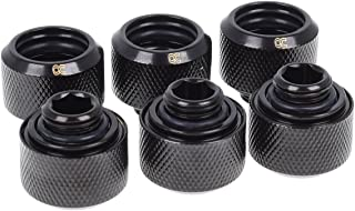 Alphacool 17379 Eiszapfen 16mm HardTube Compression Fitting G1/4 - knurled - deep Black Sixpack Water Cooling Fittings
