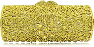 for Party Rhinestone Dinner Bag Lady Handmade Bags Elegant Banquet Clutch Bag Shoulder Chain Bag Dress Hard Shell Gift (Color : Yellow, Size : M)