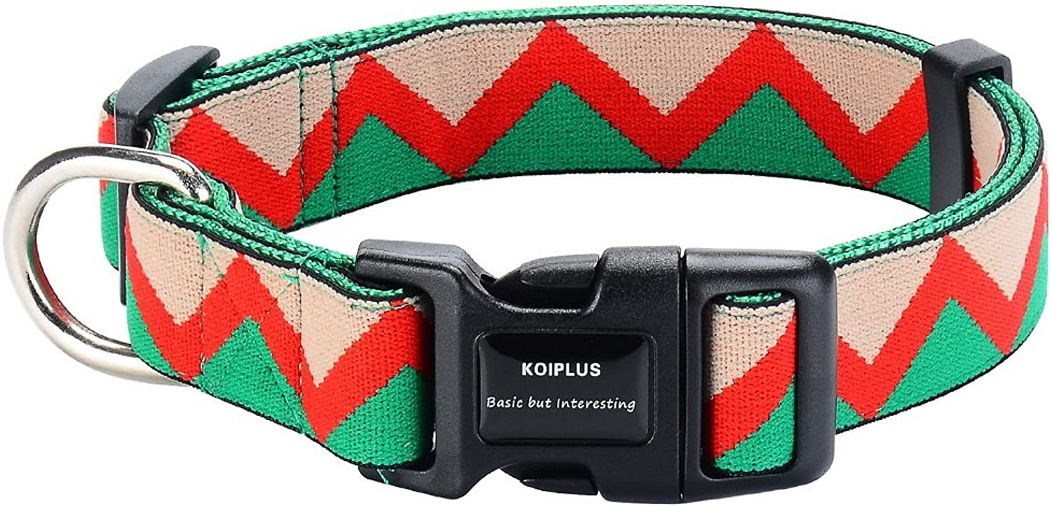 Durable Dog Collar,KOIPLUS Adjustable Dual  Padded Nylon Collar, Perfect for Small Medium and Large Dogs(L,Green)