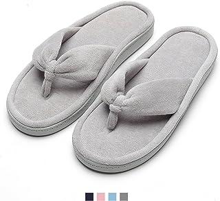 4df68950483 Women s Cozy Memory Foam Spa Thong Flip Flops Anti Slip Velvet House Indoor  Slippers