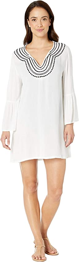 Embroidered Bell Sleeve Tunic Cover-Up