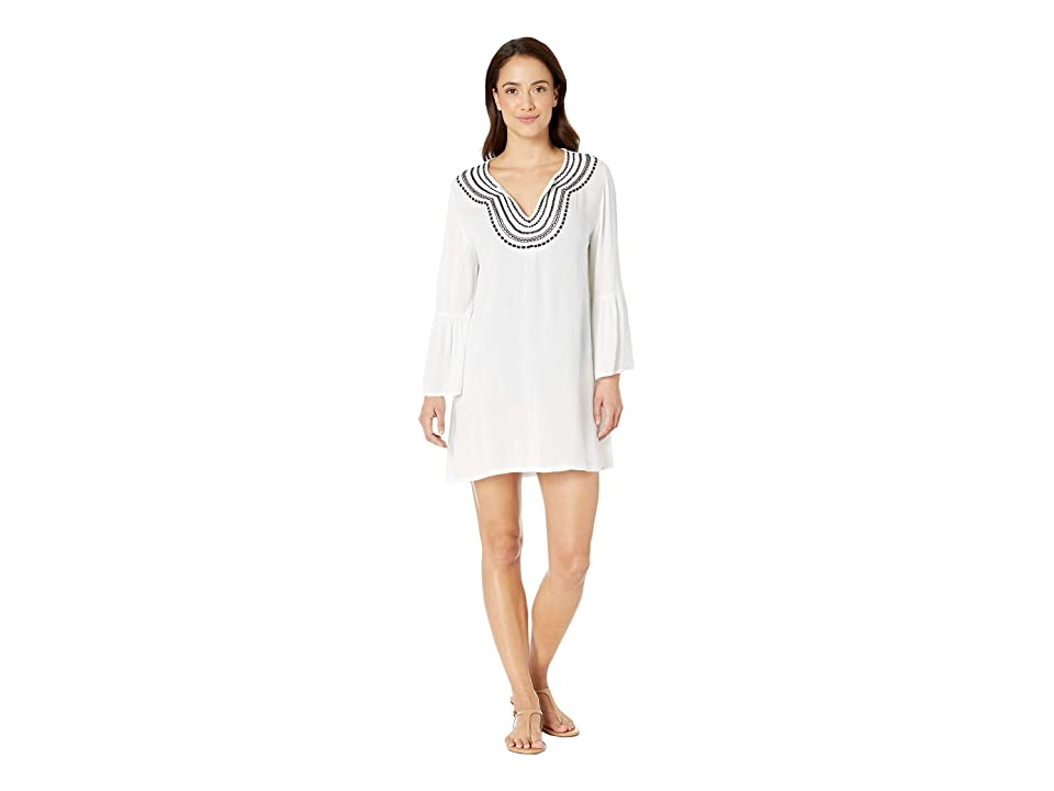 Tommy Bahama - Tommy Bahama Embroidered Bell Sleeve Tunic Cover-Up