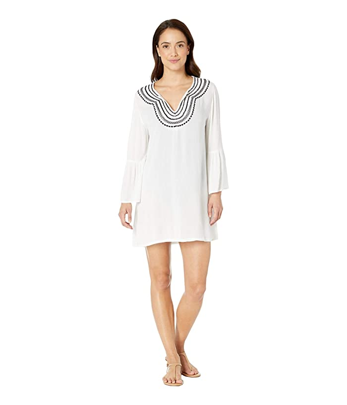 Tommy Bahama Embroidered Bell Sleeve Tunic Cover-Up (White) Women