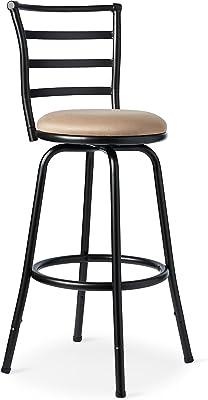 Svitlife Antique Brown Microfiber/Metal Round Adjustable Dual Height Swivel  Stool Drafting Vintage Chair