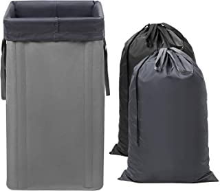 WOWLIVE Large Laundry Hamper Collapsible with 2 Removable Laundry Bags Tall Laundry Basket Foldable Dirty Clothes Hamper with 2 Handles Rectangular Washing Bin Dorm Room Storage for College(Grey)