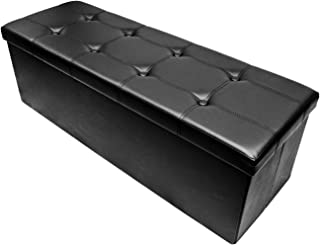 Sorbus Storage Bench Chest – Collapsible/Folding Bench Ottoman with Cover – Perfect Hope Chest, Pouffe Ottoman, Coffee Table, Seat, Foot Rest, and More – Contemporary Faux Leather, Large (Black)