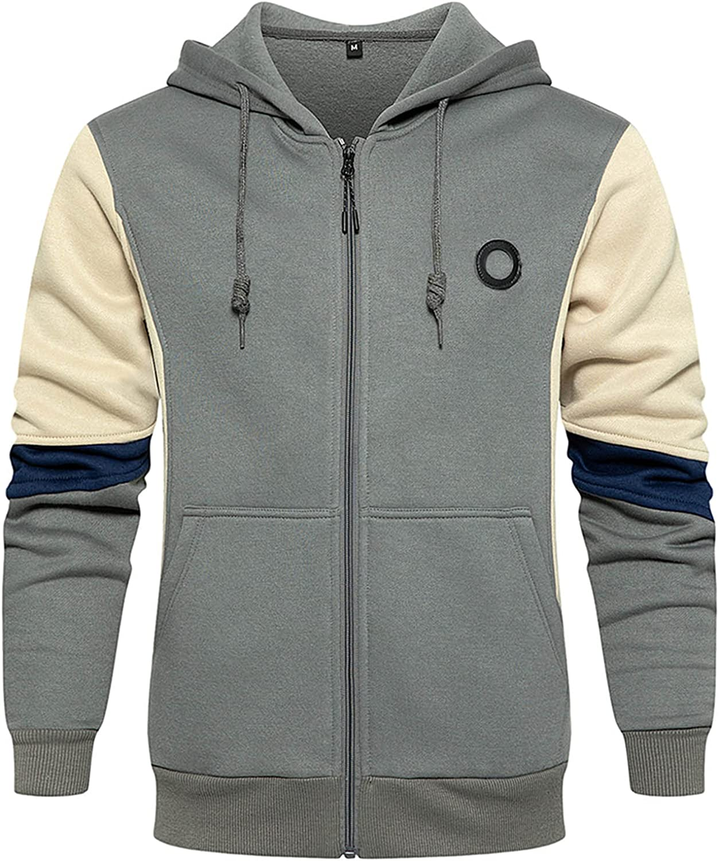 Lakimani Mens Sport Hoodies Full Zip Fleece Lined Color Block Drawstring Hoodies Winter Warm Outerwear