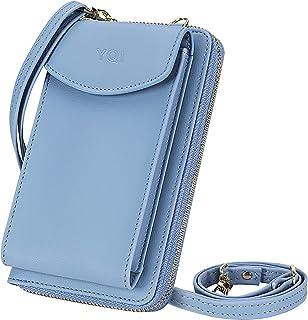 YQI Damen Handy-Umhängetasche, PU Leder Crossbody Tasche Brieftasche, RFID Blockierung Handytasche Geldbörse mit Kartenfäc...