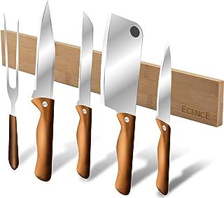 ECENCE Barra magnética de bambú para Cuchillos, 40cm, Soporte de Pared para Cuchillos, Barra magnética para Cuchillos súper adherente, Barra para Herramientas, Colgador de Llaves