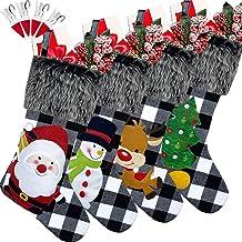"Sugaroom 4 Pack Christmas Stockings 18"" Classic Buffalo Black White Plaid Christmas Stockings Fireplace Hanging Stockings ..."
