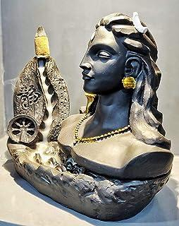"Zart Black Adiyogi Smoke Fountain in Incense Sticks Statue Home Decor Item , Office Table Show Piece 6.30 "" inch"