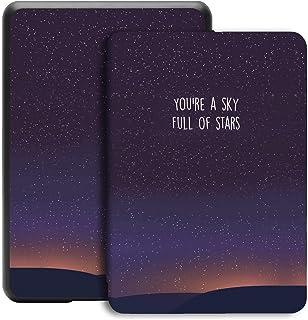 Jingdu Kindle Paperwhite 2018 モデル保護カバー,Kindle Paperwhite 第10世代用ケース レザー 軽量 超薄型 オートスリープ機能,a-青い星空