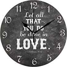 Nugier Bible Quotes Verses Let All You Can Do Be Done in Love Round Wall Clock Silent Non Ticking Custom Acrylic Painted Easy to Read Non-Ticking Round Home Art Bedroom Living Dorm Room Decor