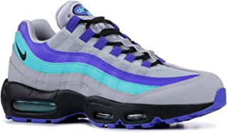 Nike Men's Air Max 95 Wolf Grey/Black/Indigo Burst/Hyper Jade Leather Cross-Trainers Shoes 6.5 M US