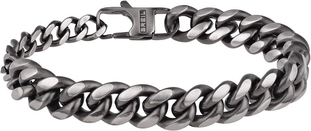 Breil - bracciale da uomo collezione double a catena in acciaio con effetto anticato TJ2910