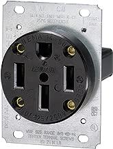 3-Pole Flush Mount Industrial Grade Range Receptacle, Straight Blade, Black, Nema 14-50R, 125/250 Volts, 50 Amps