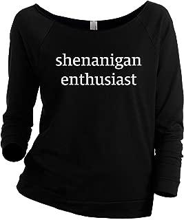 Shenanigan Enthusiast Women's Slouchy 3/4 Sleeves Raglan Sweatshirt Black