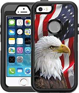 Teleskins Protective Designer Vinyl Skin Decals/Stickers for Otterbox Defender iPhone 5/5S/Se Case -Bald Eagle American Flag Design Patterns - only Skins and not Case