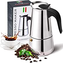 Stovetop Espresso Maker with Stainless Steel, Moka Pot,Easy to Operate & Quick Cleanup Pot,Classic Italian Coffee Maker Ex...