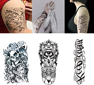 Sethexy 10 Sheets Fashion Temporary Tattoo Realistic Midium Body Art Stickers Waterproof Arm Chest Shoulder Fake Tattoo for Men and Women