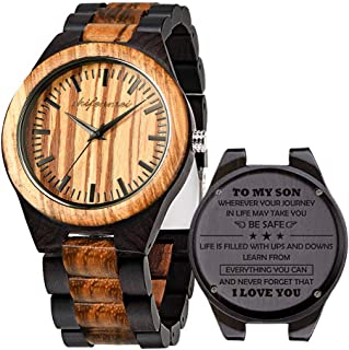 Engraved Wooden Watches, Personalized Engraved Wood Watch for Anniversary Birthday Graduation Gift for Husband Boyfriend Love Dad Mom Son Friend Japanese Movement Battery Engraved Watch with Gift Box