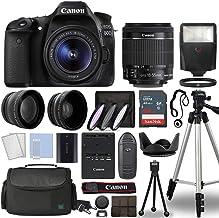 Canon EOS 80D Digital SLR Camera Body with Canon EF-S 18-55mm f/3.5-5.6 is STM Lens 3 Lens DSLR Kit Bundled with Complete Accessory Bundle + 64GB + Flash + Case/Bag & More - International Model