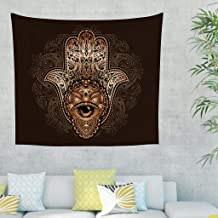 Festhad Golden Mandala Hamsa Hand Evil Eye Lotus Print Wall Hanging Tapestry Vintage Wall Tapestry Hippie Wall Decor Beach Cover Up Photography Background Cloth White 40x59inch