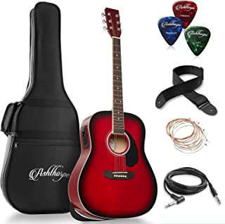 String Set White Straps Picks LCD Tuner Pickguard Tidyard Basswood Guitar Set Acoustic Guitar with Bag