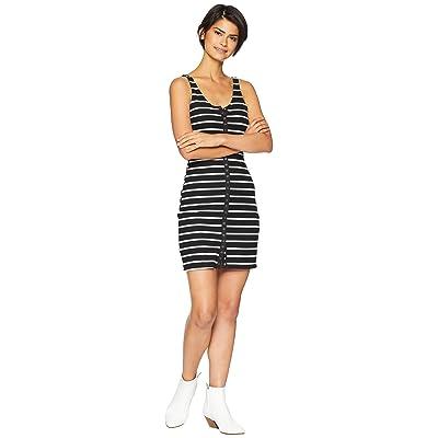 Lucy Love Snap It Up Dress (Black/White Striped) Women