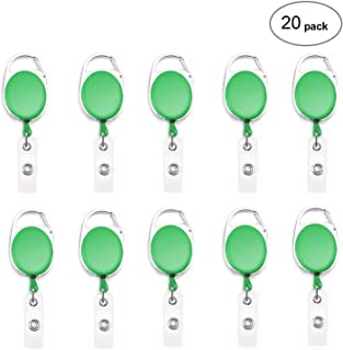 Fushing 20Pcs Carabiner Badge Reels Retractable ID Card Reels (Green)